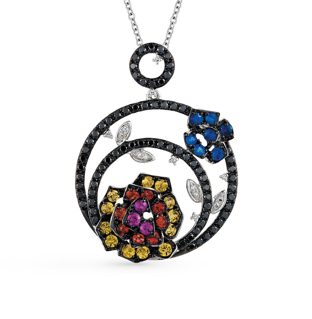 золотая подвеска с чёрными и белыми бриллиантами, рубинами и сапфирами SUNLIGHT