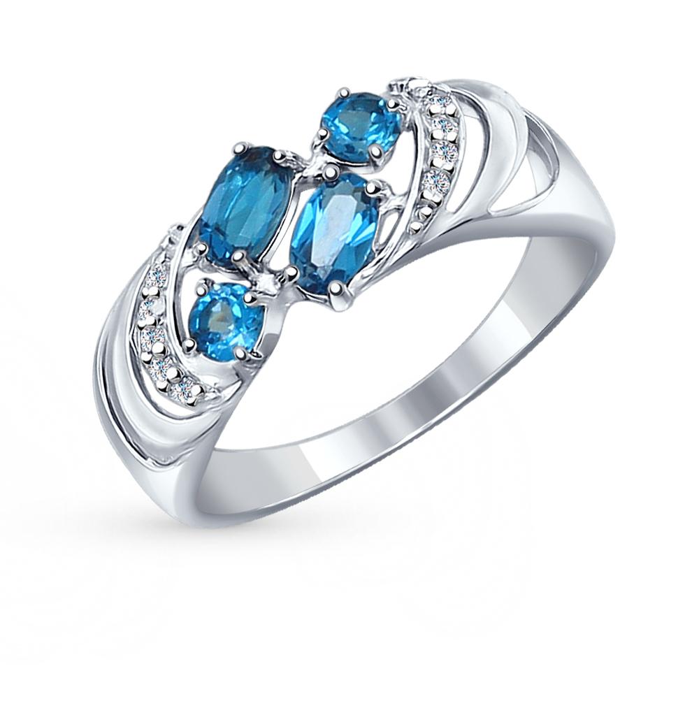 Фото «серебряное кольцо с топазами и фианитами»