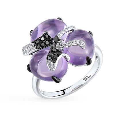 Фото «золотое кольцо с чёрными и белыми бриллиантами, аметистами, топазами и фианитами»