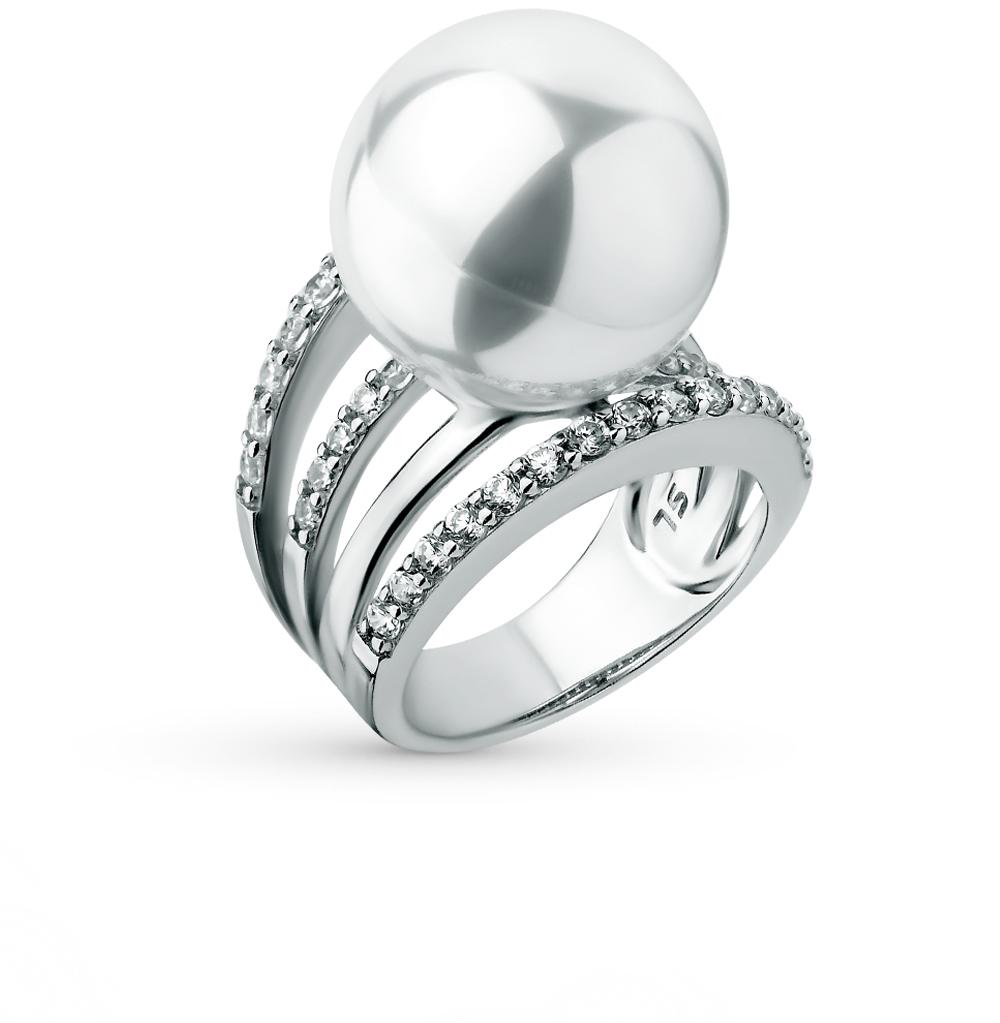 Фото «серебряное кольцо с фианитами и жемчугом искусственными»