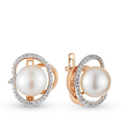 Фото «золотые серьги с бриллиантами и жемчугом»