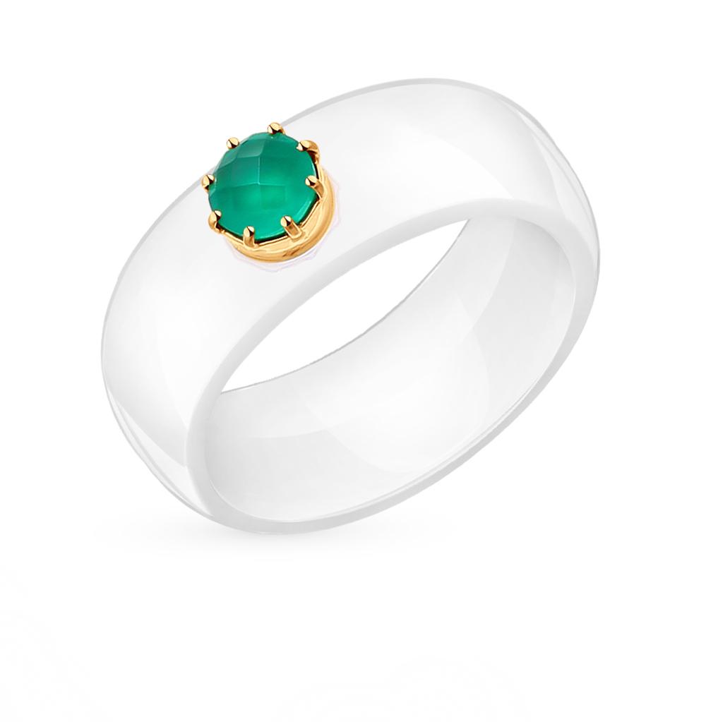 Фото «керамическое кольцо с фианитами и агатами»