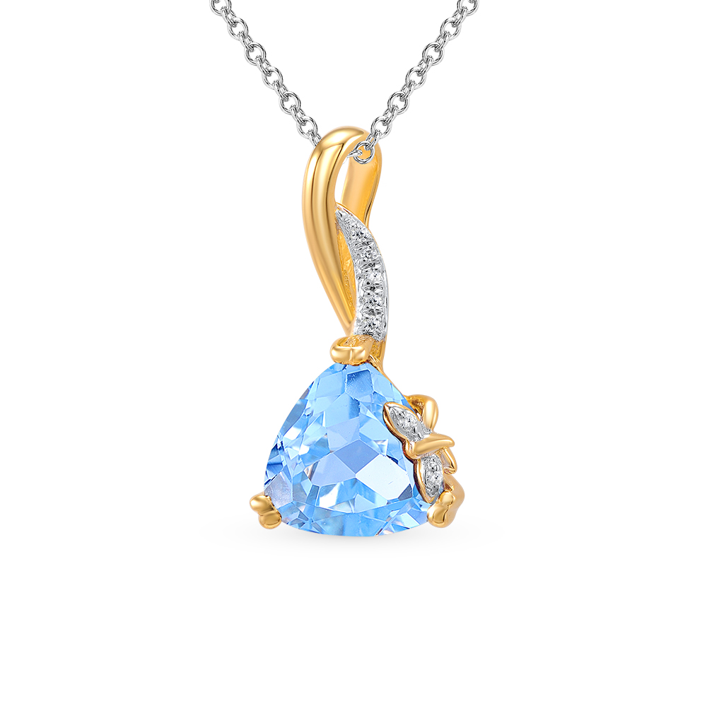 Фото «золото подвеска с бриллиантами и топазами»