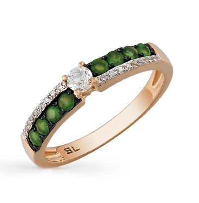 Фото «золотое кольцо с бриллиантами, изумрудами и топазами»