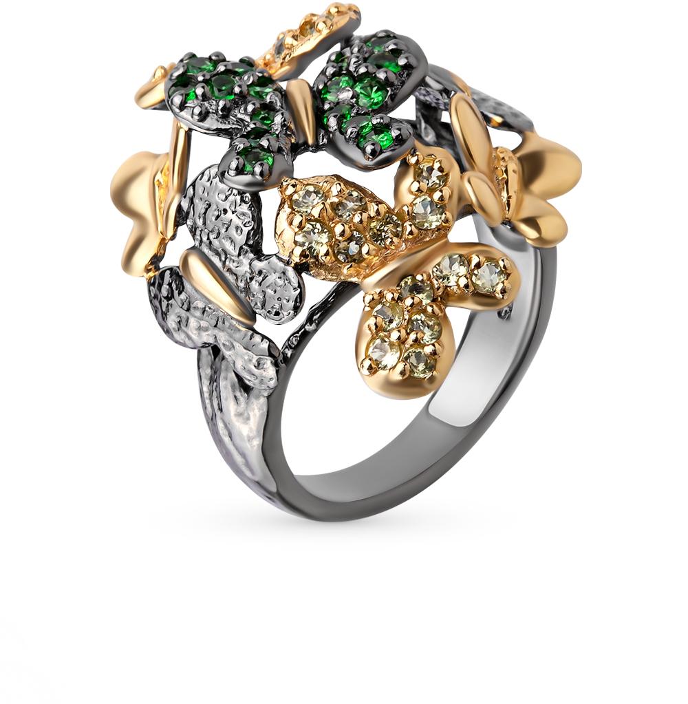 Фото «серебряное кольцо с гранатом и хризолитом»