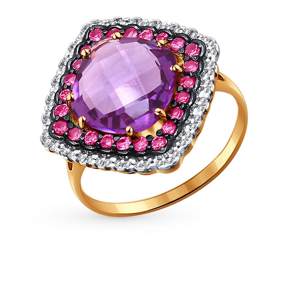 Фото «золотое кольцо с аметистами, фианитами и родолитами»