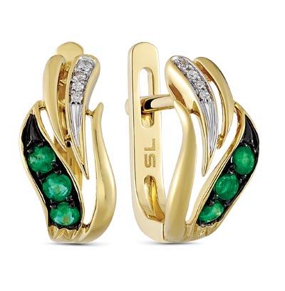 Фото «золотые серьги с бриллиантами и изумрудами»