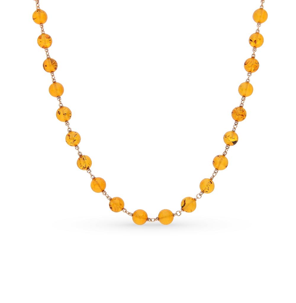золотое колье с янтарями SUNLIGHT