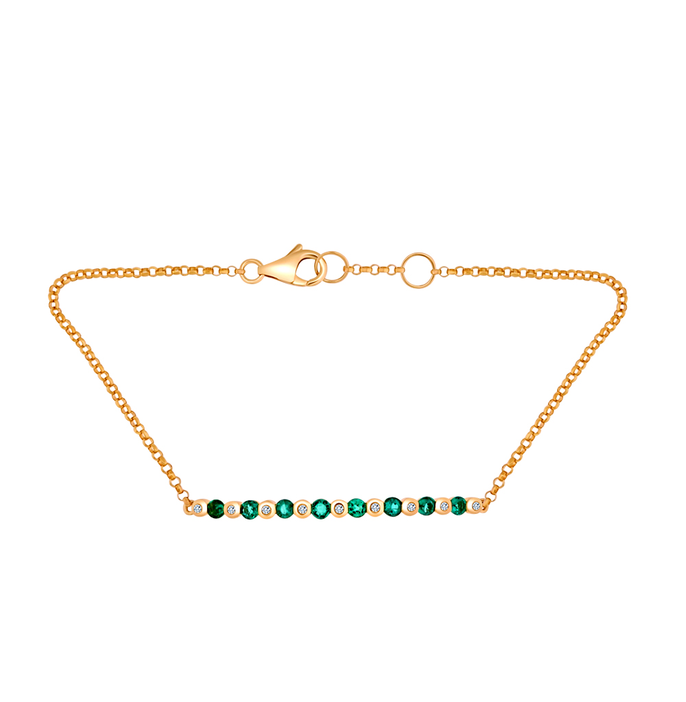 Фото «золотой браслет с бриллиантами и изумрудами»