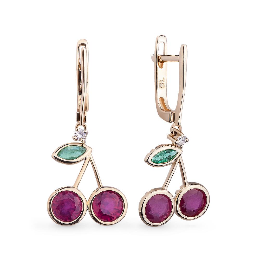 Фото «золотые серьги с бриллиантами, изумрудами и рубинами»