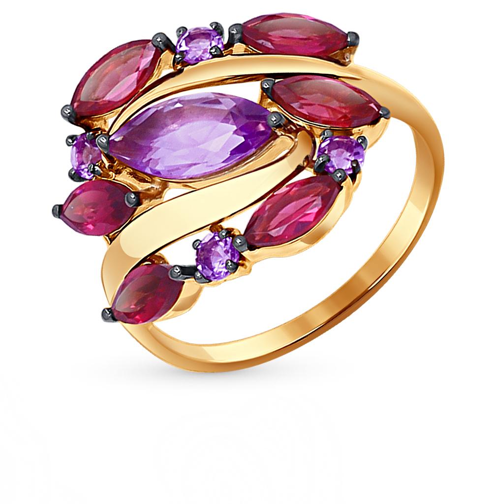 Фото «золотое кольцо с аметистами и родолитами»
