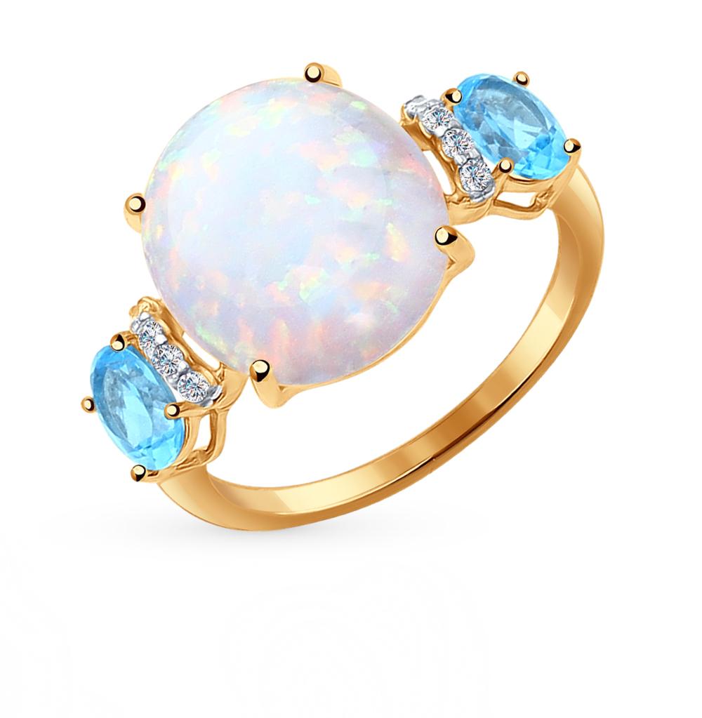 Фото «золотое кольцо с топазами, фианитами и опалами синтетическими»