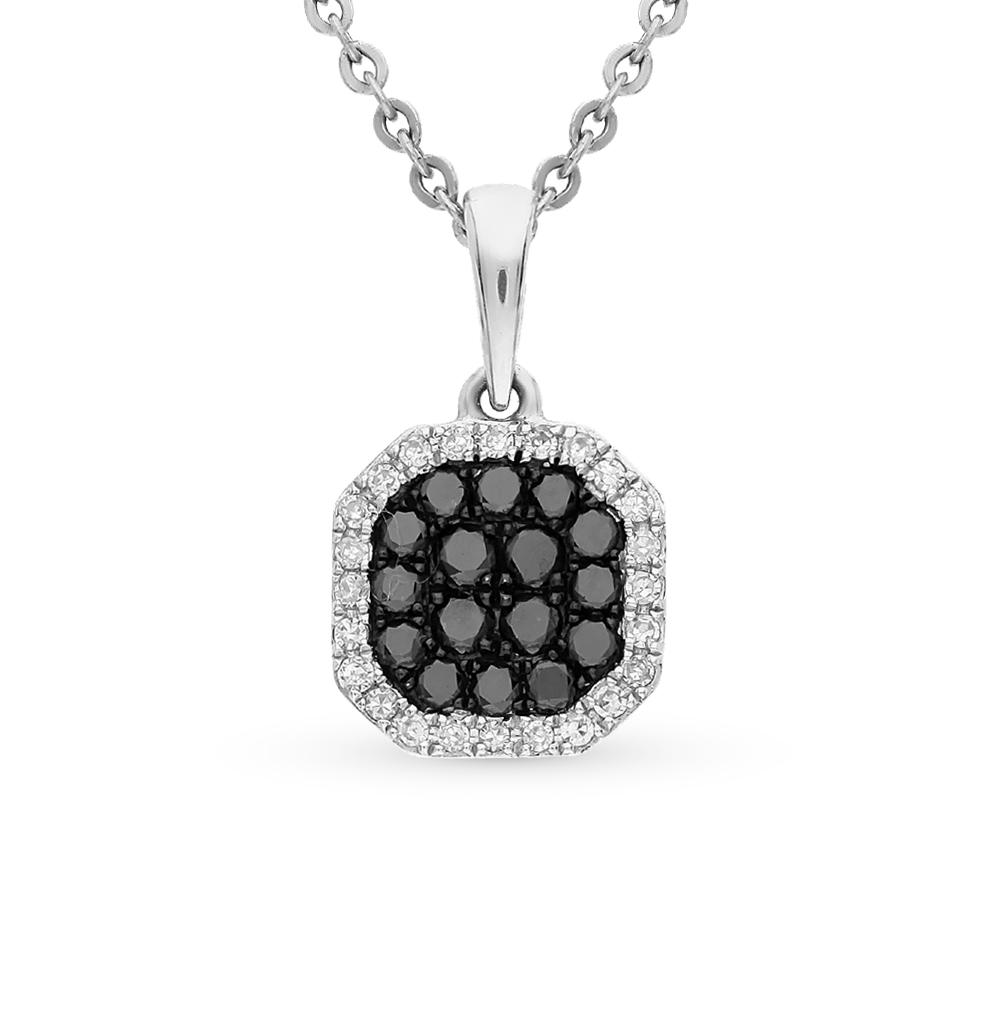 Фото «золотая подвеска с чёрными и белыми бриллиантами»
