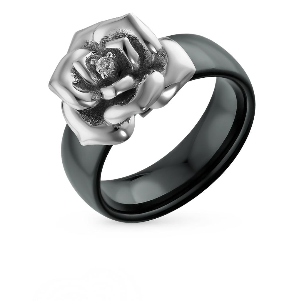Фото «кольцо из серебра и керамики с фианитом»