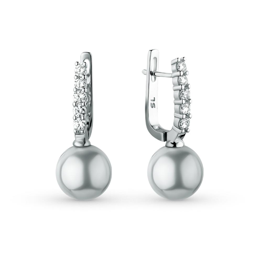 Фото «серебряные серьги с жемчугом и фианитами»