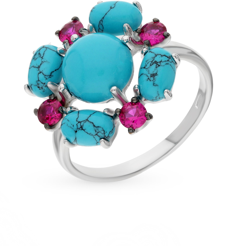 Фото «серебряное кольцо с фианитами и бирюза имитациями»