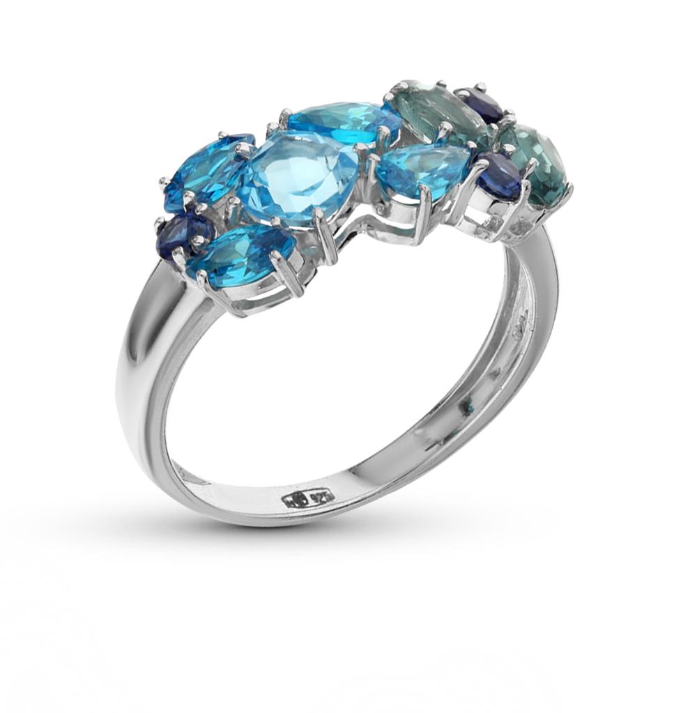 Фото «серебряное кольцо с топазами синтетическими и фианитами»