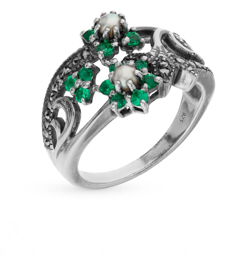 Фото «серебряное кольцо с марказитами, фианитами и жемчугами»