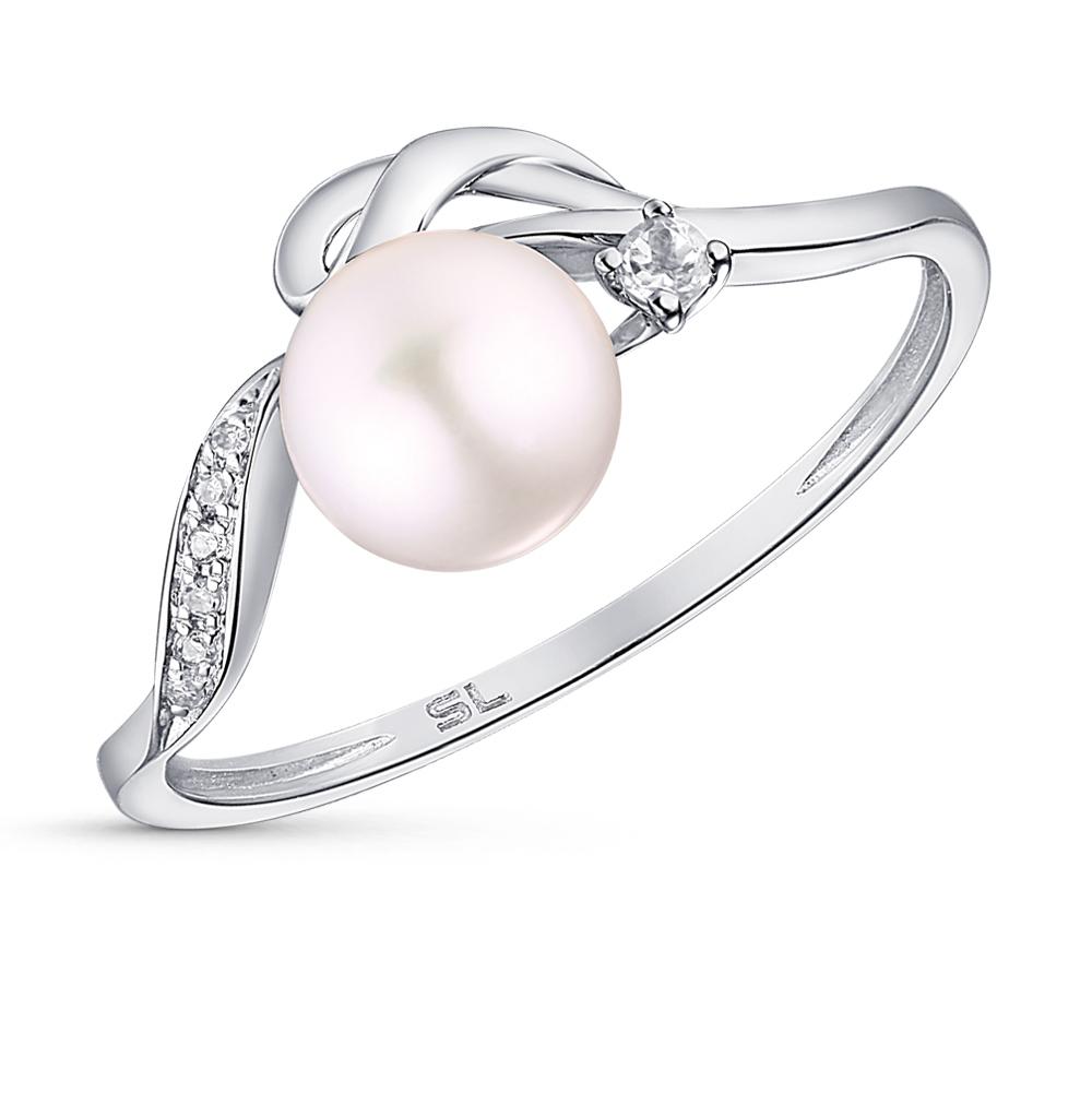 золотое кольцо с топазами, жемчугом и бриллиантами SUNLIGHT