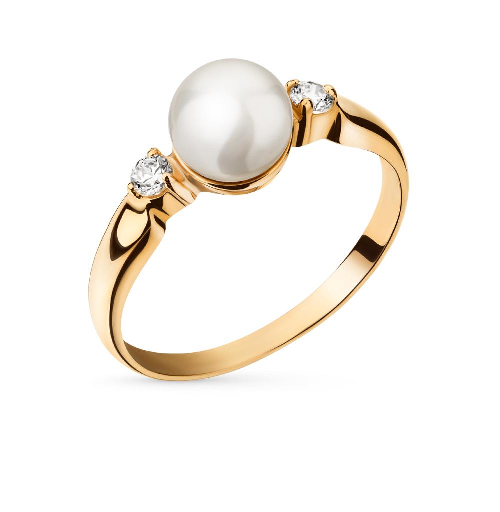 Фото «золотое кольцо с жемчугом и фианитами»