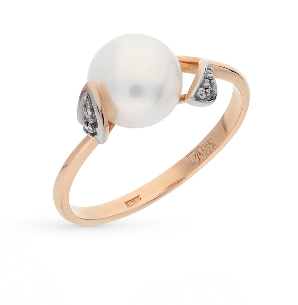 Фото «золотое кольцо с шпинелями синтетическими, фианитами и жемчугом»
