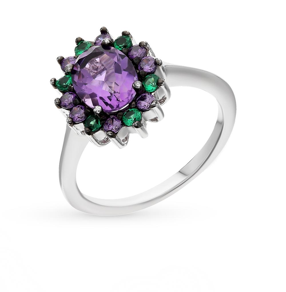 Фото «серебряное кольцо с нанокристаллами, аметистами и фианитами»