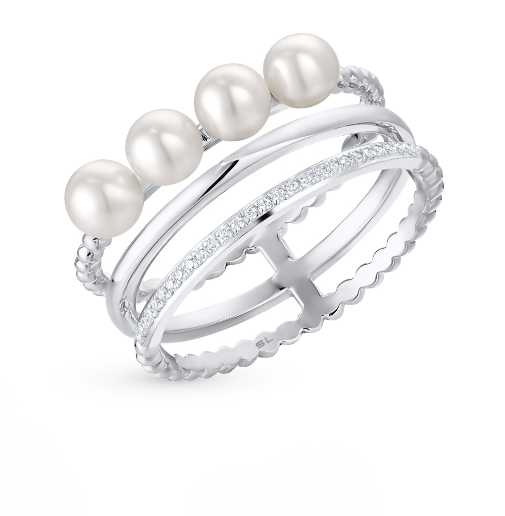 Фото «золотое кольцо с бриллиантами и культивированными жемчугом»