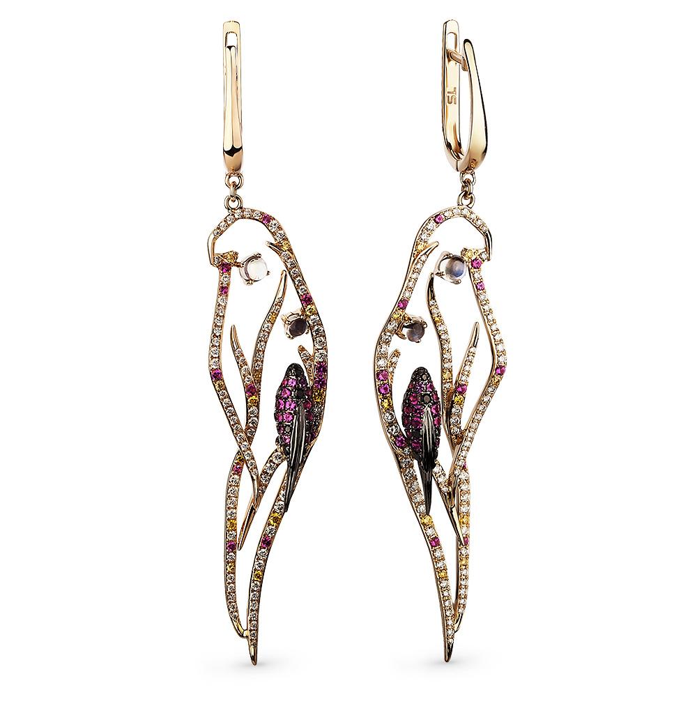 Фото «золотые серьги с бриллиантами, лунными камнями и рубинами»