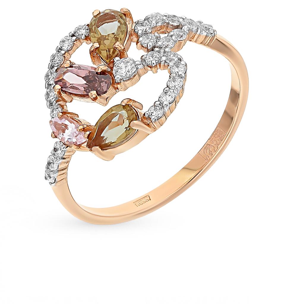 золотое кольцо с морганитами, султанитами, фианитами и родолитами SUNLIGHT