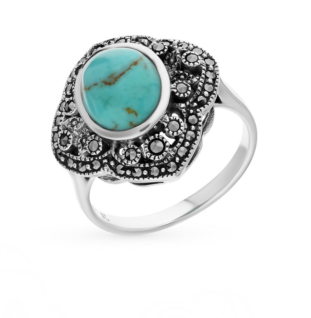 Фото «серебряное кольцо с марказитами и бирюзой»