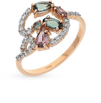 Фото «золотое кольцо с турмалинами и родолитами»
