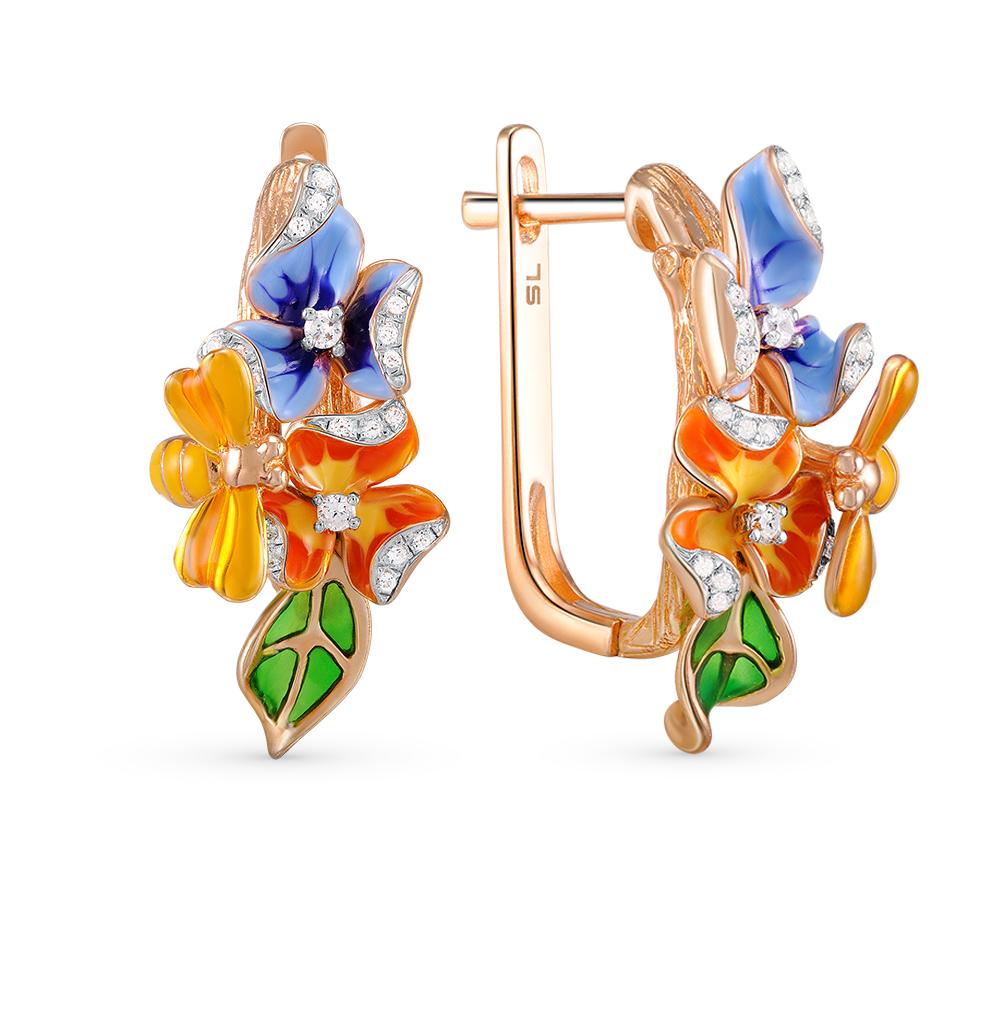 Фото «золотые серьги с бриллиантами и эмалью»