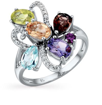 Фото «золотое кольцо с бриллиантами, гранатами, топазами и раухтопазами (кварцами дымчатый)»