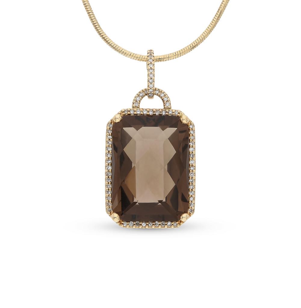 Фото «золотая подвеска с бриллиантами и кварцами дымчатыми»