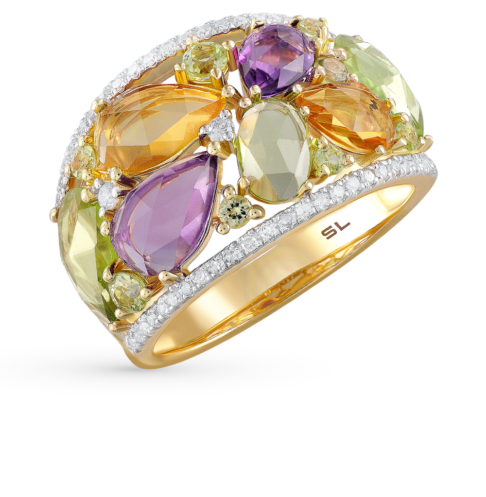 Фото «золотое кольцо с бриллиантами, аметистами, цитринами и хризолитами»