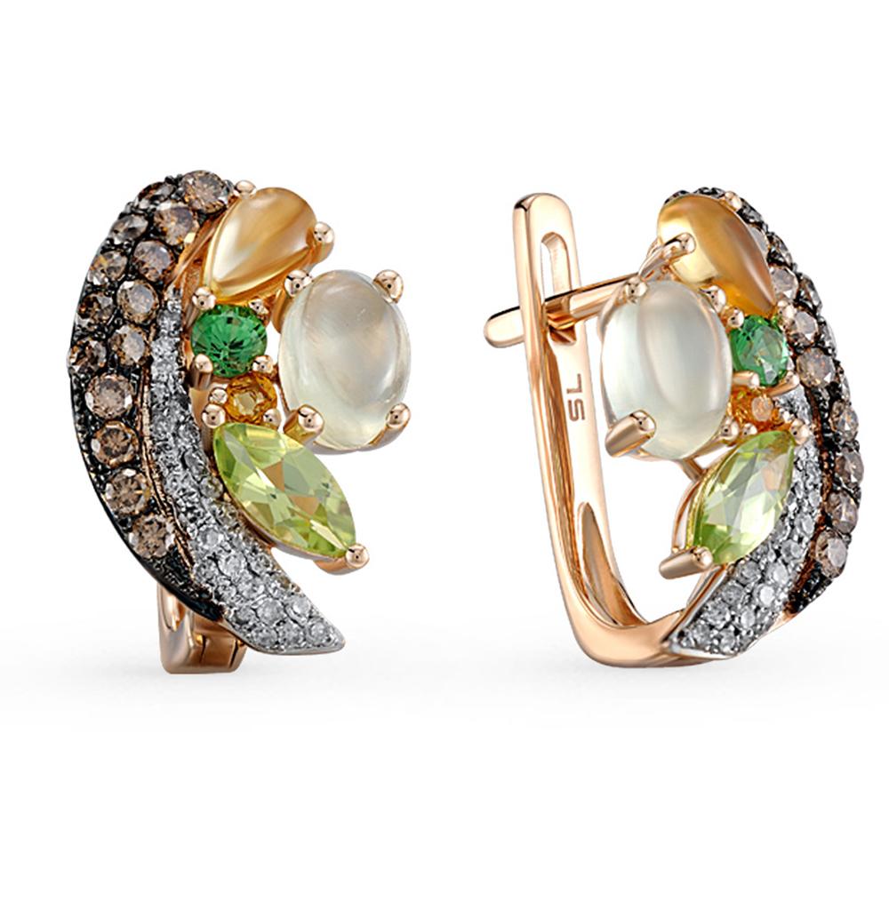 Фото «золотые серьги с коньячными и белыми бриллиантами, пренитами, гранатами, цитринами и хризолитами»