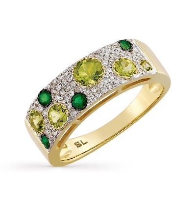 Фото «золотое кольцо с бриллиантами, изумрудами и хризолитами»