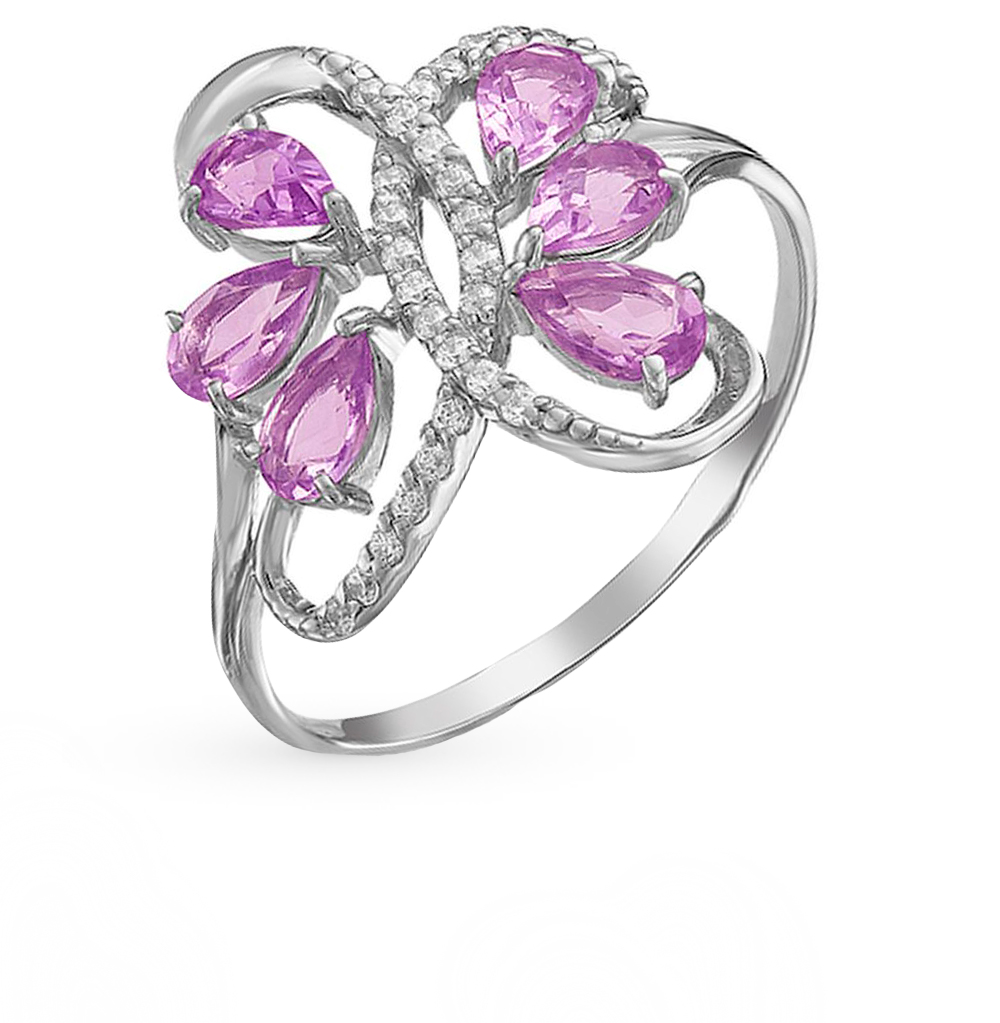 Фото «серебряное кольцо с аметистами, фианитами, раухтопазами (кварцами дымчатый) и родолитами»
