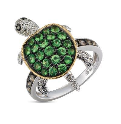 Фото «золотое кольцо с чёрными и коньячными бриллиантами, гранатом и бриллиантами»