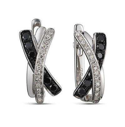 Фото «золотые серьги с чёрными бриллиантами»