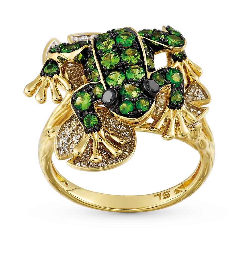 Фото «золотое кольцо с чёрными и белыми бриллиантами и гранатами»
