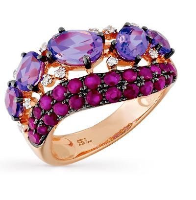 Фото «золотое кольцо с бриллиантами, аметистами и рубинами»