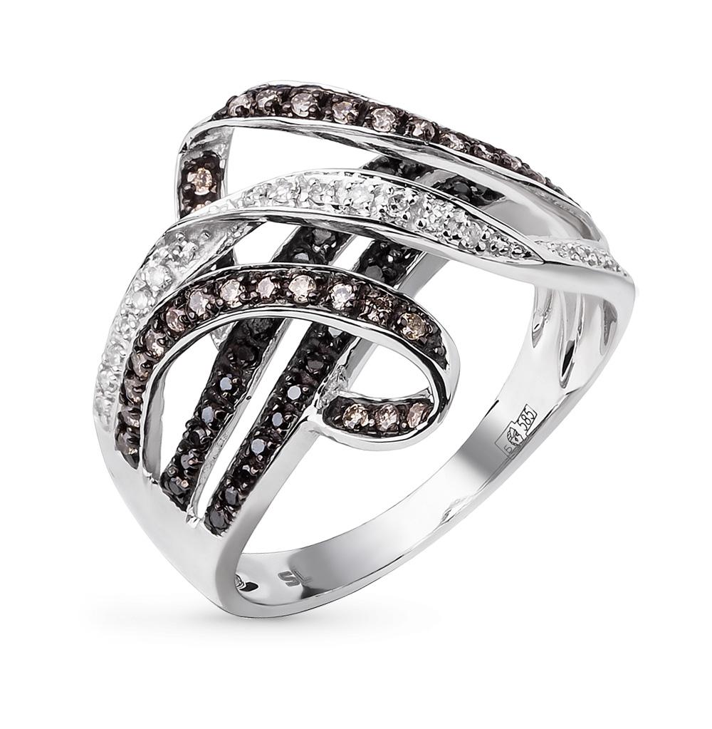 Фото «золотое кольцо с чёрными, коньячными и белыми бриллиантами»