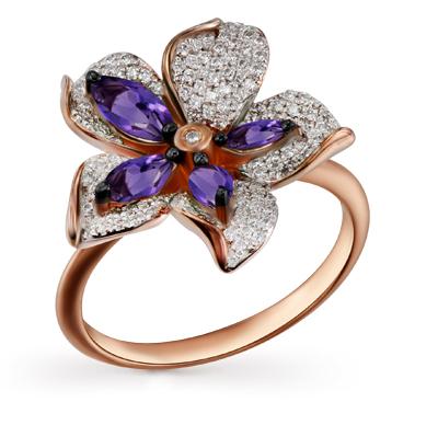 Фото «золотое кольцо с аметистом и бриллиантами»