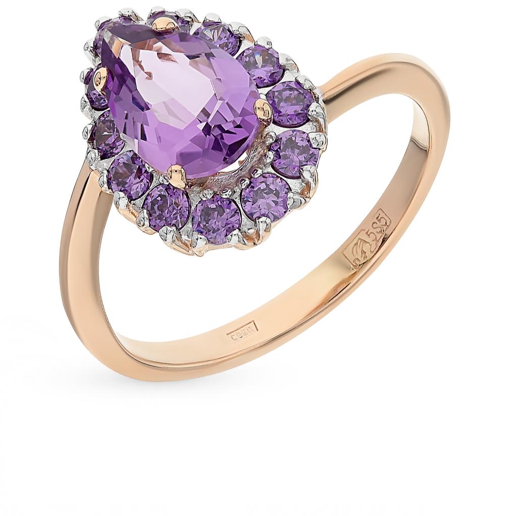 Фото «золотое кольцо с аметистами и фианитами»