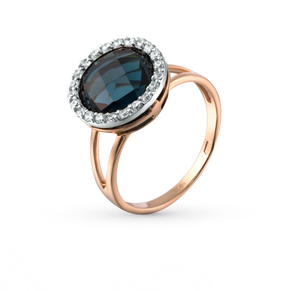 Фото «золотое кольцо с шпинелями синтетическими и фианитами»