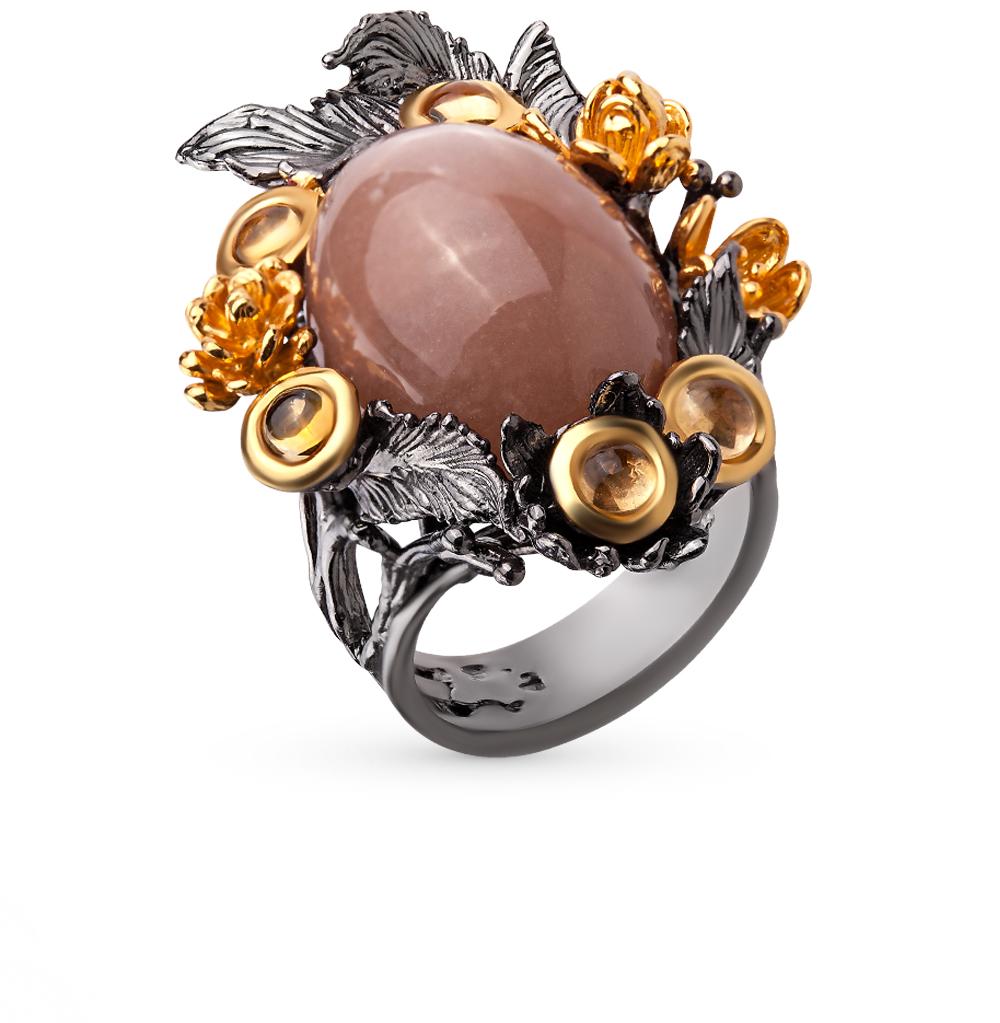 Фото «серебряное кольцо с лунными камнями и цитринами»