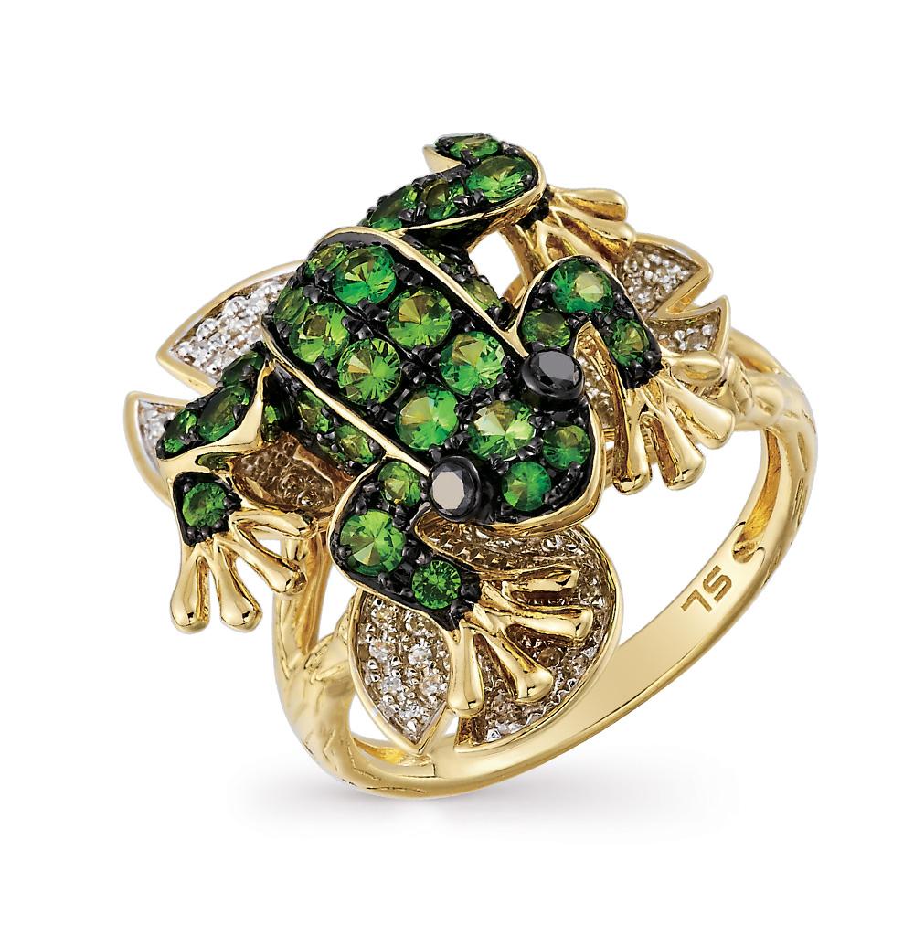 Фото «золотое кольцо с чёрными бриллиантами, гранатом и бриллиантами»