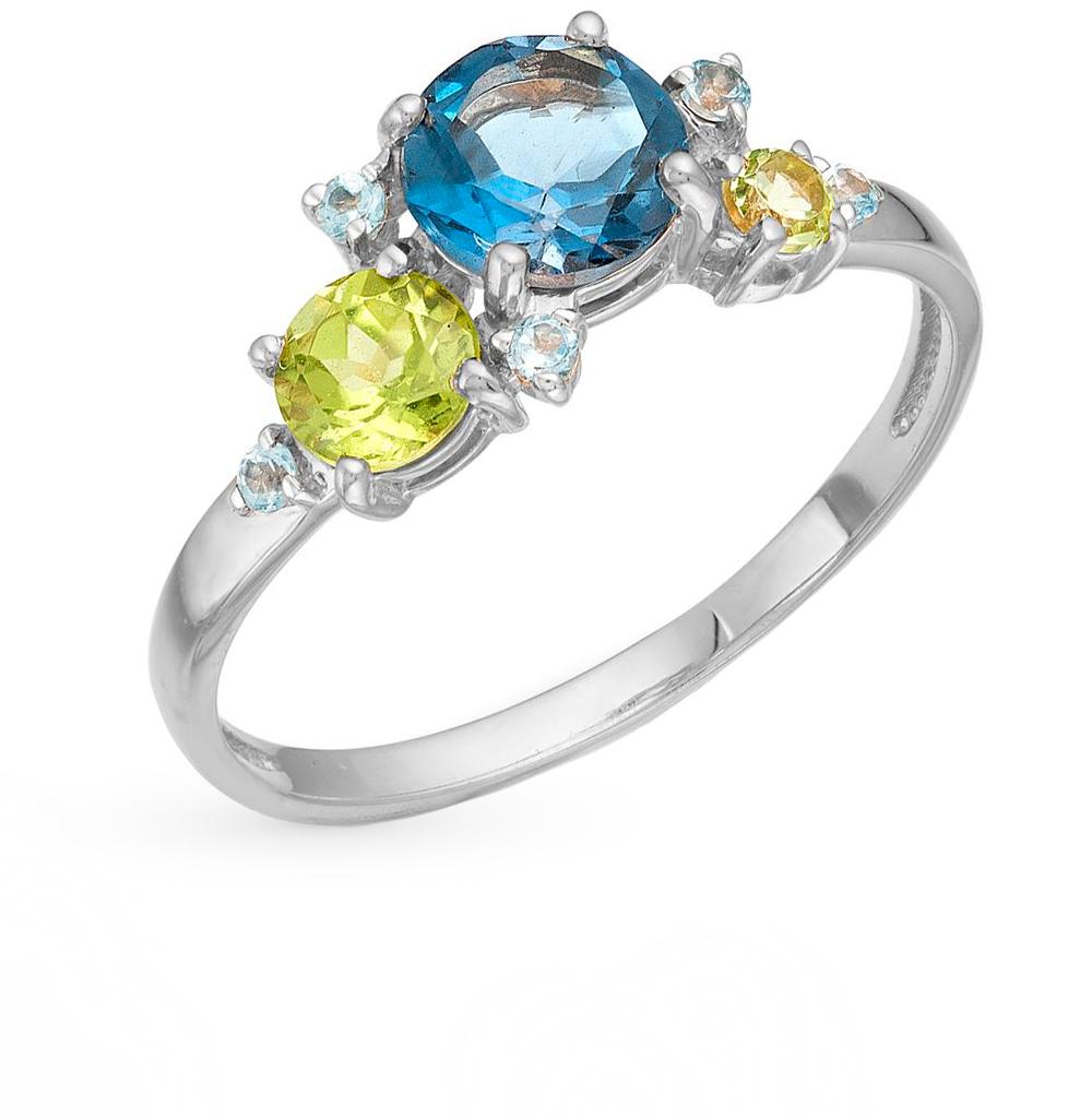 Фото «серебряное кольцо с топазами и хризолитом»