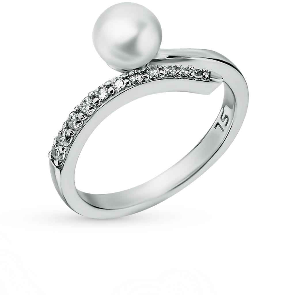 Фото «серебряное кольцо с фианитами, жемчугом и жемчугами культивированными»